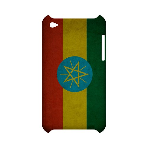 Grunge Ethiopia Geeks Designer Line Flag Series Slim Hard Case for Apple iPod Touch 4