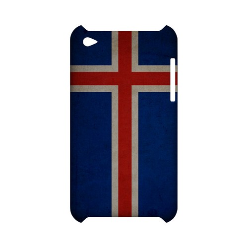 Grunge Iceland Geeks Designer Line Flag Series Slim Hard Case for Apple iPod Touch 4