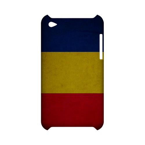 Grunge Romania Geeks Designer Line Flag Series Slim Hard Case for Apple iPod Touch 4