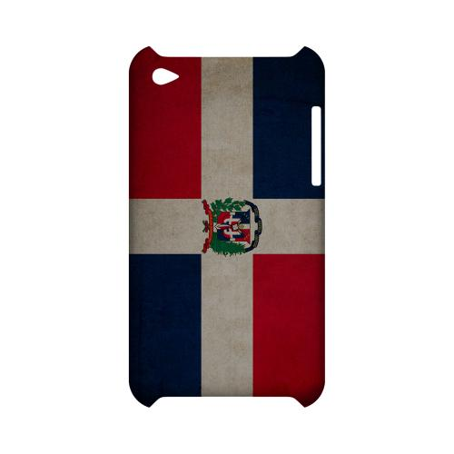 Grunge Dominican Republic Geeks Designer Line Flag Series Slim Hard Case for Apple iPod Touch 4