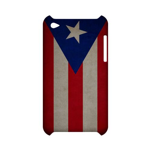 Grunge Puerto Rico Geeks Designer Line Flag Series Slim Hard Case for Apple iPod Touch 4