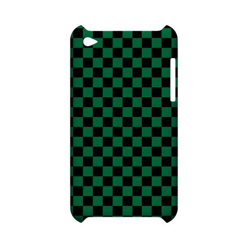 Green/ Black - Geeks Designer Line Checker Series Hard Case for Apple iPod Touch 4