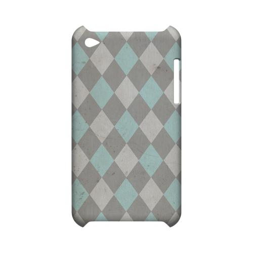 Grunge Pink/ Blue/ Gray Argyle - Geeks Designer Line Checker Series Hard Case for Apple iPod Touch 4