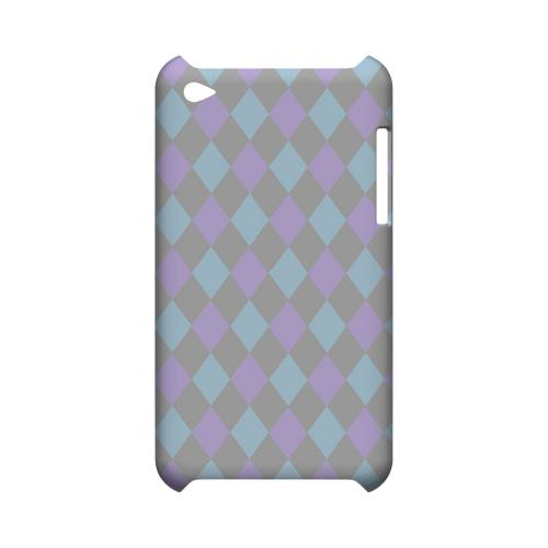 Gray/ Blue/ Purple Argyle - Geeks Designer Line Checker Series Hard Case for Apple iPod Touch 4