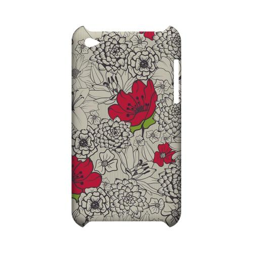 Flower Outline Red Accent - Geeks Designer Line Floral Series Hard Case for Apple iPod Touch 4