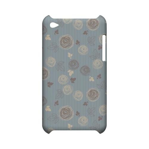 Leaves Scribble Blue/ Brown - Geeks Designer Line Floral Series Hard Case for Apple iPod Touch 4