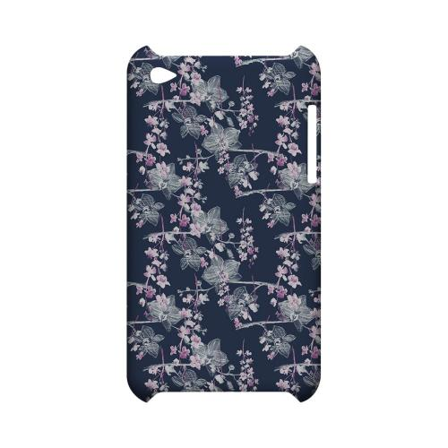 Pink/ White Floral on Blue - Geeks Designer Line Floral Series Hard Case for Apple iPod Touch 4