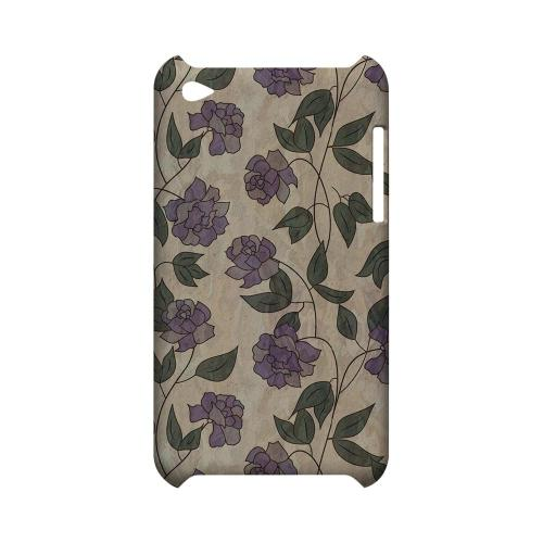 Purple Flowers & Vines Wallpaper - Geeks Designer Line Floral Series Hard Case for Apple iPod Touch 4