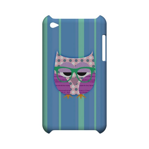 Hipster Owl on Blue/Green Stripes - Geeks Designer Line (GDL) Owl Series Hard Back Cover for Apple iPod Touch 4