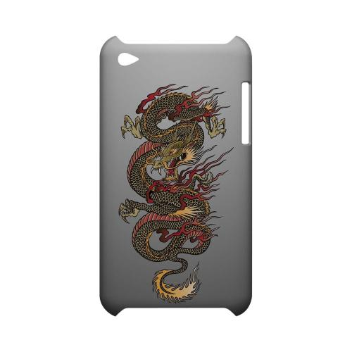 Dragon on Gray Gradient - Geeks Designer Line Tattoo Series Hard Case for Apple iPod Touch 4