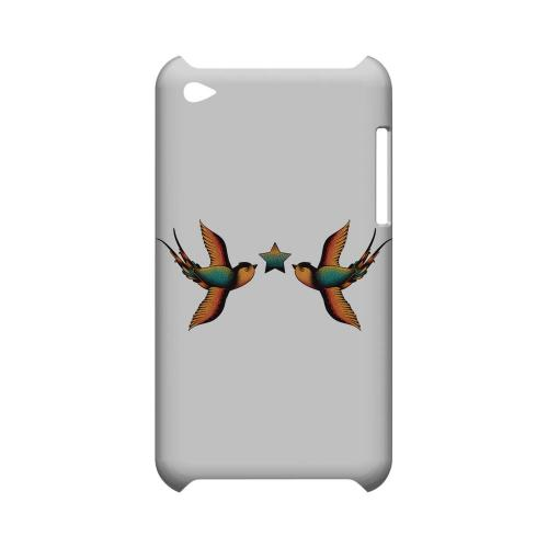 Dual Swallow Star on White - Geeks Designer Line Tattoo Series Hard Case for Apple iPod Touch 4