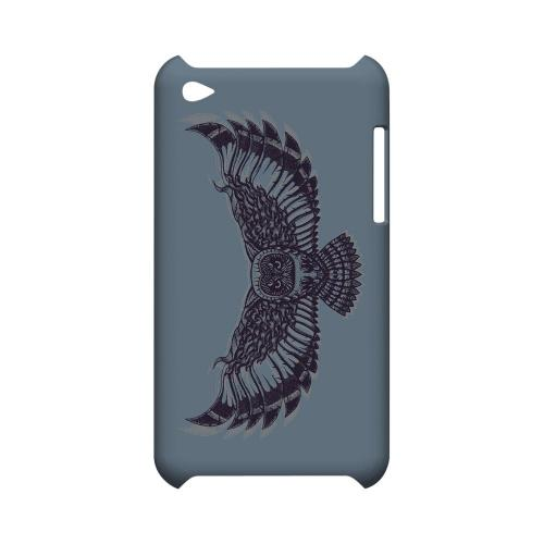 Flying Owl Blue/ Gray - Geeks Designer Line Tattoo Series Hard Case for Apple iPod Touch 4