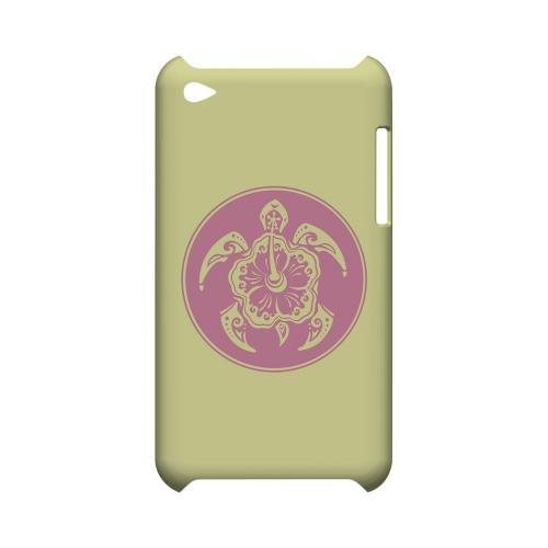 Pink Island Turtle Solo on Yellow - Geeks Designer Line Tattoo Series Hard Case for Apple iPod Touch 4
