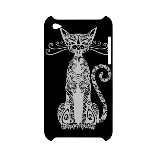 Kitty Nouveau on Black - Geeks Designer Line Tattoo Series Hard Case for Apple iPod Touch 4