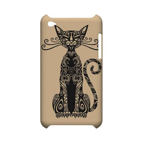 Kitty Nouveau on Peach - Geeks Designer Line Tattoo Series Hard Case for Apple iPod Touch 4