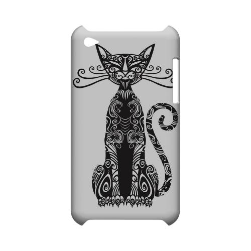 Kitty Nouveau on White - Geeks Designer Line Tattoo Series Hard Case for Apple iPod Touch 4