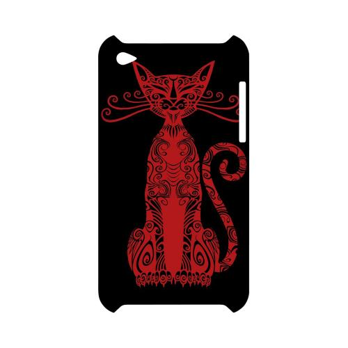 Red Kitty Nouveau on Black - Geeks Designer Line Tattoo Series Hard Case for Apple iPod Touch 4