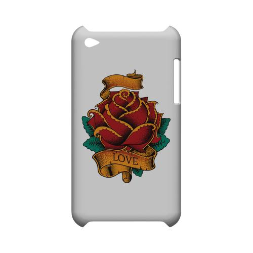 Love Rose on White - Geeks Designer Line Tattoo Series Hard Case for Apple iPod Touch 4
