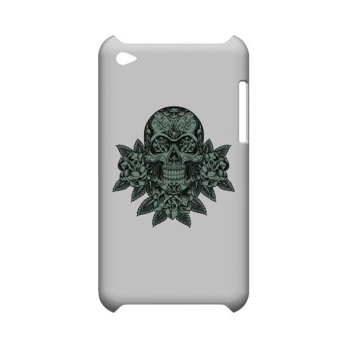 Skull Roses Aqua - Geeks Designer Line Tattoo Series Hard Case for Apple iPod Touch 4