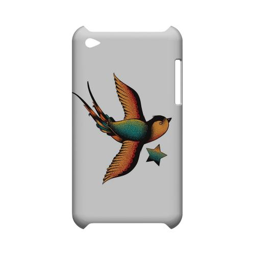 Swallow Star on White - Geeks Designer Line Tattoo Series Hard Case for Apple iPod Touch 4