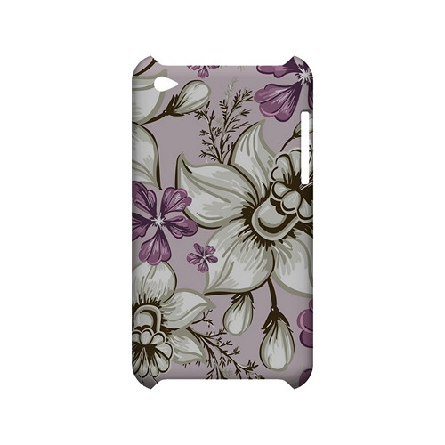 White and Violet Orchids - Geeks Designer Line Floral Series Hard Case for Apple iPod Touch 4