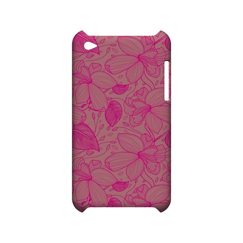 Pink on Pink Orchid Lines - Geeks Designer Line Floral Series Hard Case for Apple iPod Touch 4