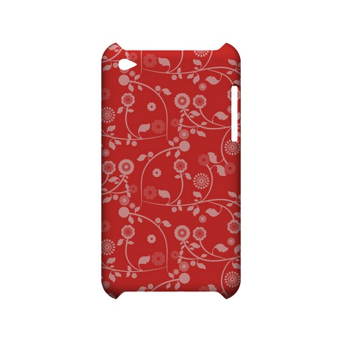 Floral 2 Poppy Red - Geeks Designer Line Pantone Color Series Hard Case for Apple iPod Touch 4