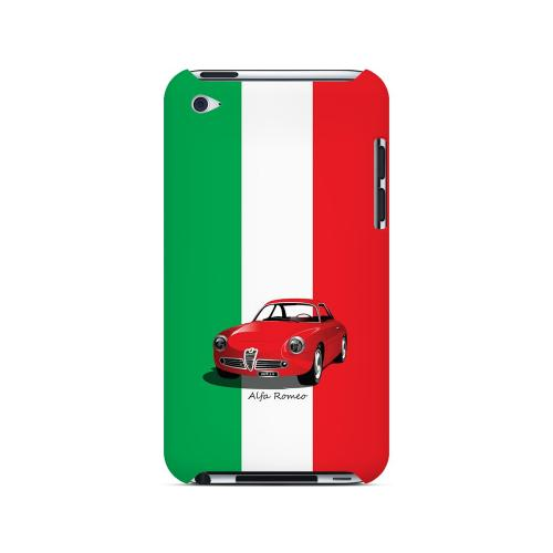 Red Alfa Romeo on Green/ White/ Red - Geeks Designer Line Auto Series Hard Case for Apple iPod Touch 4