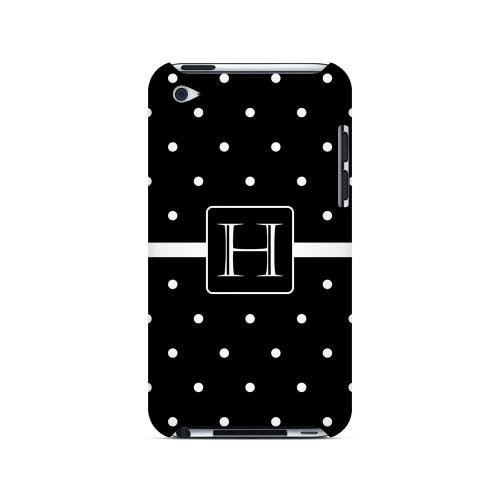 H on Classic Mini Polka Dots - Geeks Designer Line Monogram Series Hard Case for Apple iPod Touch 4