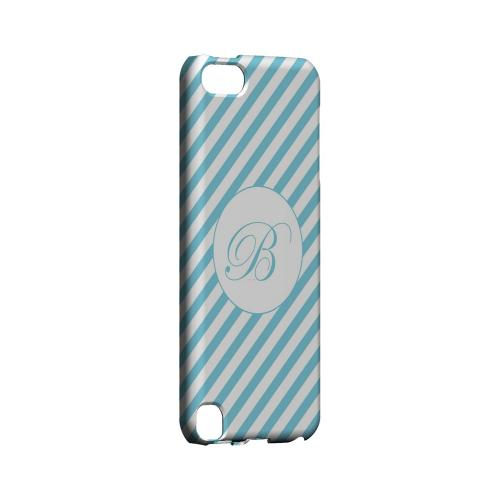 Calligraphy B on Mint Slanted Stripes - Geeks Designer Line Monogram Series Hard Case for Apple iPod Touch 5