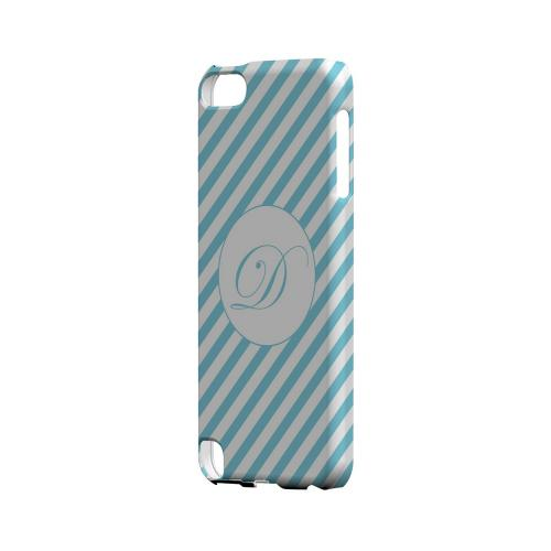 Calligraphy D on Mint Slanted Stripes - Geeks Designer Line Monogram Series Hard Case for Apple iPod Touch 5