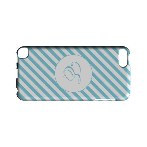 Calligraphy E on Mint Slanted Stripes - Geeks Designer Line Monogram Series Hard Case for Apple iPod Touch 5