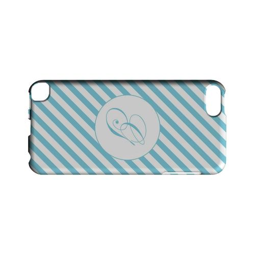 Calligraphy G on Mint Slanted Stripes - Geeks Designer Line Monogram Series Hard Case for Apple iPod Touch 5