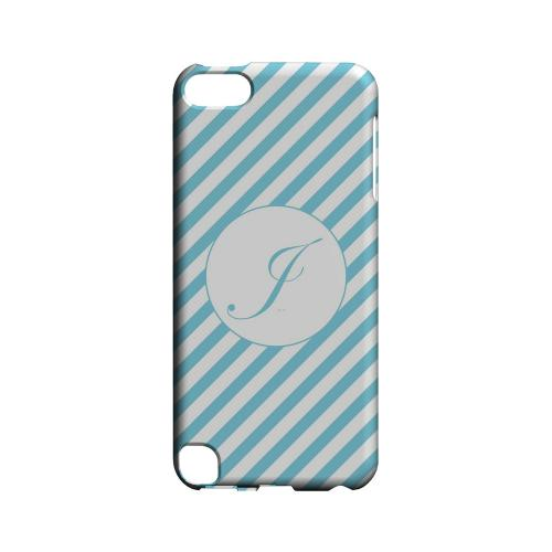 Calligraphy J on Mint Slanted Stripes - Geeks Designer Line Monogram Series Hard Case for Apple iPod Touch 5