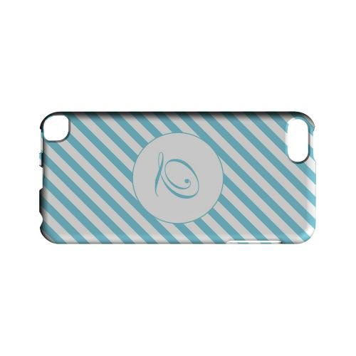 Calligraphy Q on Mint Slanted Stripes - Geeks Designer Line Monogram Series Hard Case for Apple iPod Touch 5