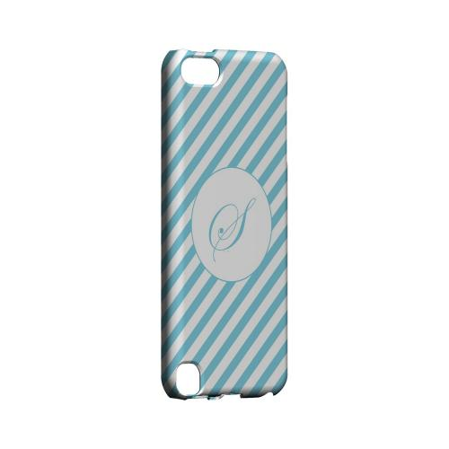 Calligraphy S on Mint Slanted Stripes - Geeks Designer Line Monogram Series Hard Case for Apple iPod Touch 5