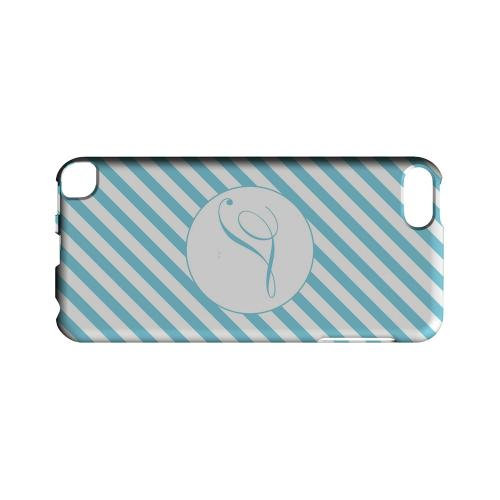 Calligraphy T on Mint Slanted Stripes - Geeks Designer Line Monogram Series Hard Case for Apple iPod Touch 5