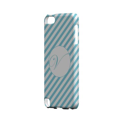 Calligraphy V on Mint Slanted Stripes - Geeks Designer Line Monogram Series Hard Case for Apple iPod Touch 5