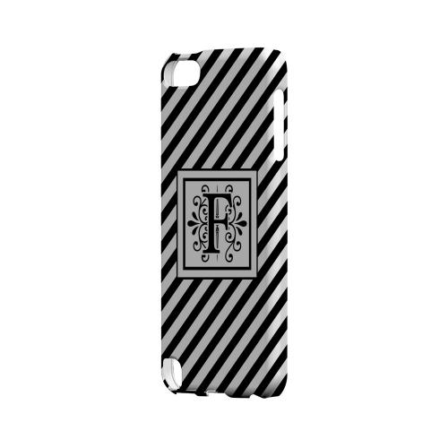 Vintage Vine F On Black Slanted Stripes - Geeks Designer Line Monogram Series Hard Case for Apple iPod Touch 5