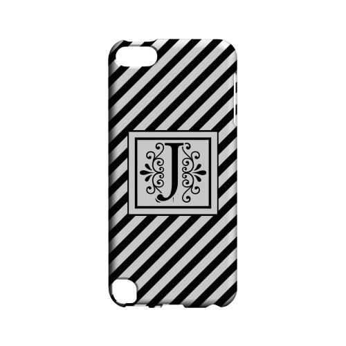 Vintage Vine J On Black Slanted Stripes - Geeks Designer Line Monogram Series Hard Case for Apple iPod Touch 5