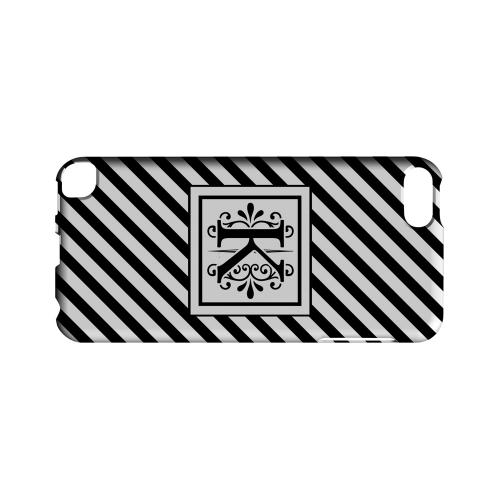 Vintage Vine K On Black Slanted Stripes - Geeks Designer Line Monogram Series Hard Case for Apple iPod Touch 5