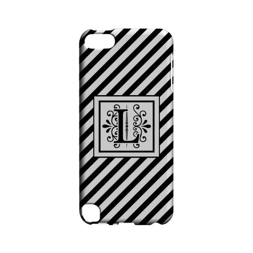 Vintage Vine L On Black Slanted Stripes - Geeks Designer Line Monogram Series Hard Case for Apple iPod Touch 5