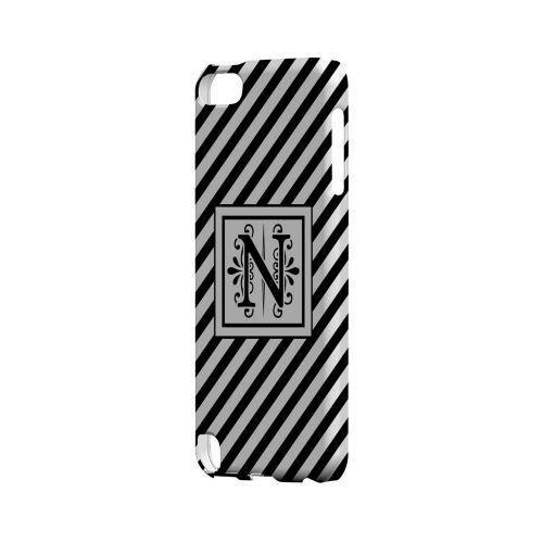 Vintage Vine N On Black Slanted Stripes - Geeks Designer Line Monogram Series Hard Case for Apple iPod Touch 5