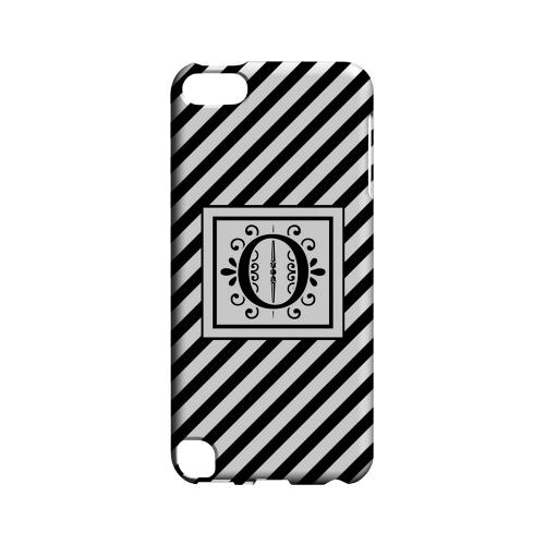Vintage Vine O On Black Slanted Stripes - Geeks Designer Line Monogram Series Hard Case for Apple iPod Touch 5