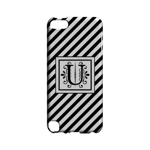 Vintage Vine U On Black Slanted Stripes - Geeks Designer Line Monogram Series Hard Case for Apple iPod Touch 5