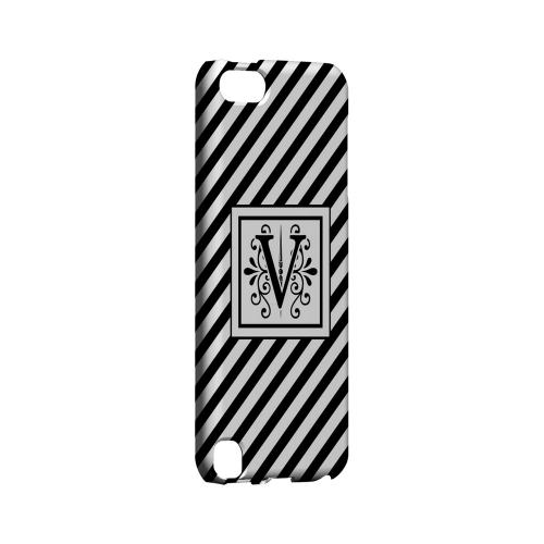 Vintage Vine V On Black Slanted Stripes - Geeks Designer Line Monogram Series Hard Case for Apple iPod Touch 5