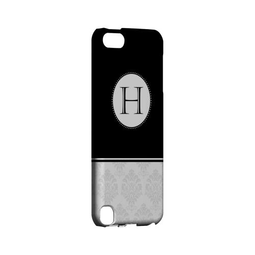 Black H w/ White Damask Design - Geeks Designer Line Monogram Series Hard Case for Apple iPod Touch 5