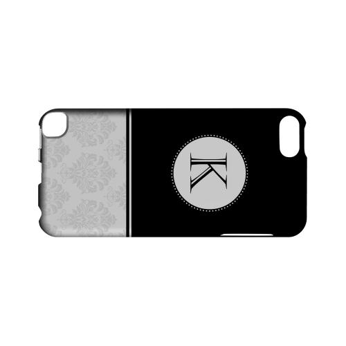 Black K w/ White Damask Design - Geeks Designer Line Monogram Series Hard Case for Apple iPod Touch 5
