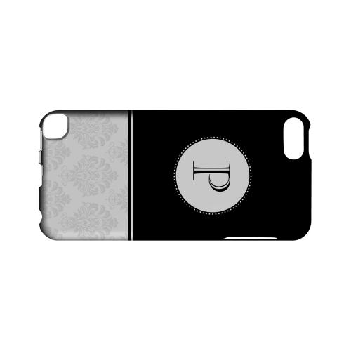 Black P w/ White Damask Design - Geeks Designer Line Monogram Series Hard Case for Apple iPod Touch 5
