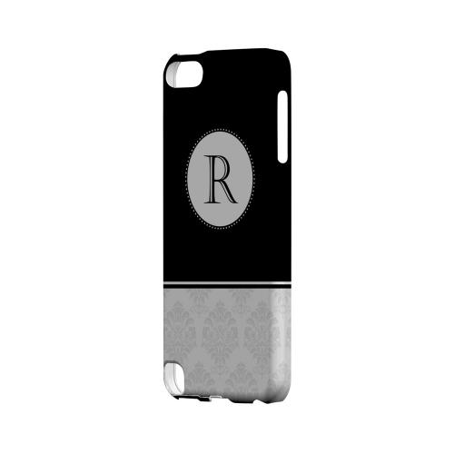 Black R w/ White Damask Design - Geeks Designer Line Monogram Series Hard Case for Apple iPod Touch 5